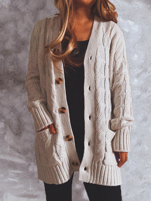 Coarse Twist Pocket Long-sleeved Knitted Cardigan