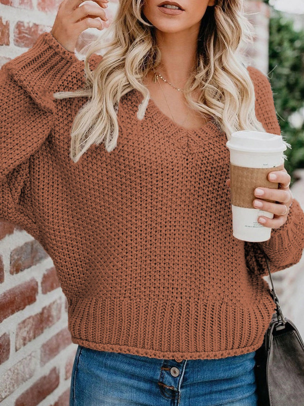 Autumn And Winter Loose Knit V-neck Pullover Sweater