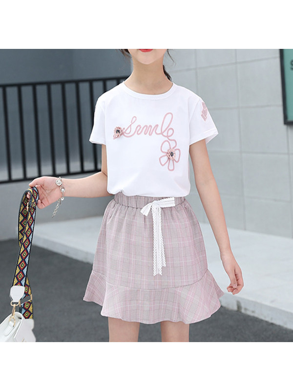 【3Y-11Y】Big Girl's Short-sleeved T-shirt And Plaid Skirt Two-piece Suit