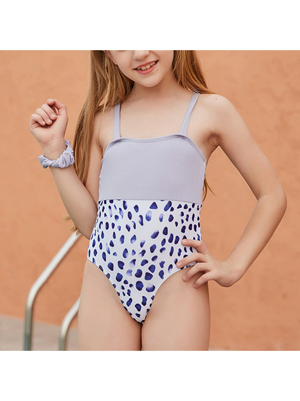 【6Y-13Y】Girls' Stitched Leopard Print Sling One-piece Swimsuit