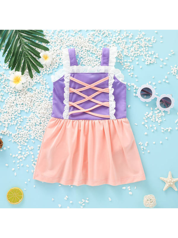 【18M-13Y】Girls Stitched Sweet Sleeveless One-piece Swimsuit