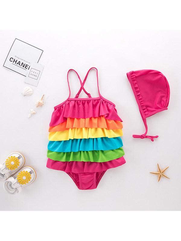 【2Y-5Y】Girls Rainbow Sling One-piece Swimsuit