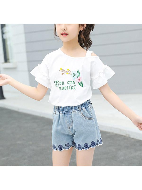 【3Y-13Y】Big Girl Denim Shorts T-shirt Two-piece Suit