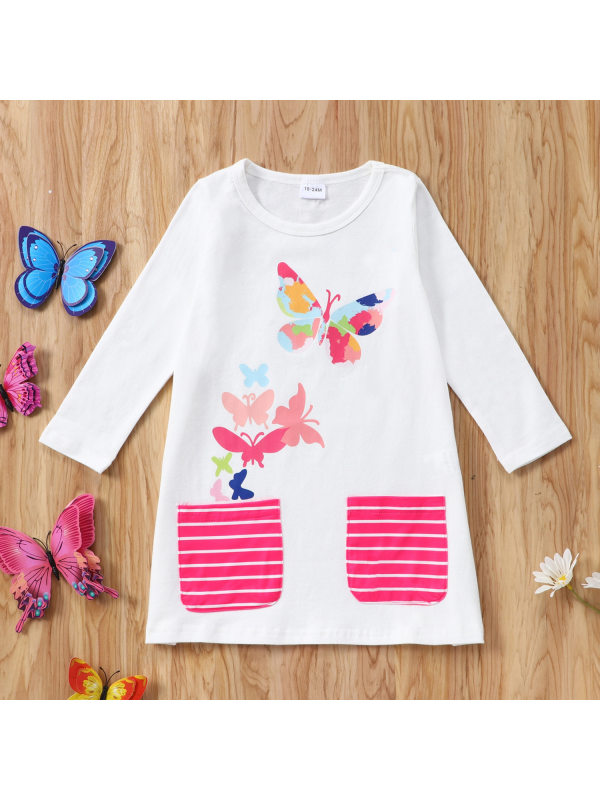 【18M-7Y】Girls Round Neck Butterfly Print Long Sleeve Dress