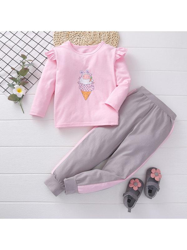 【18M-7Y】Girls Sweet Cute Ice Cream Printed Sweater Trousers Suit