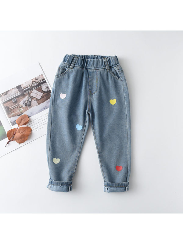 【18M-7Y】Girls' Casual Jeans With Multicolored Hearts Pattern