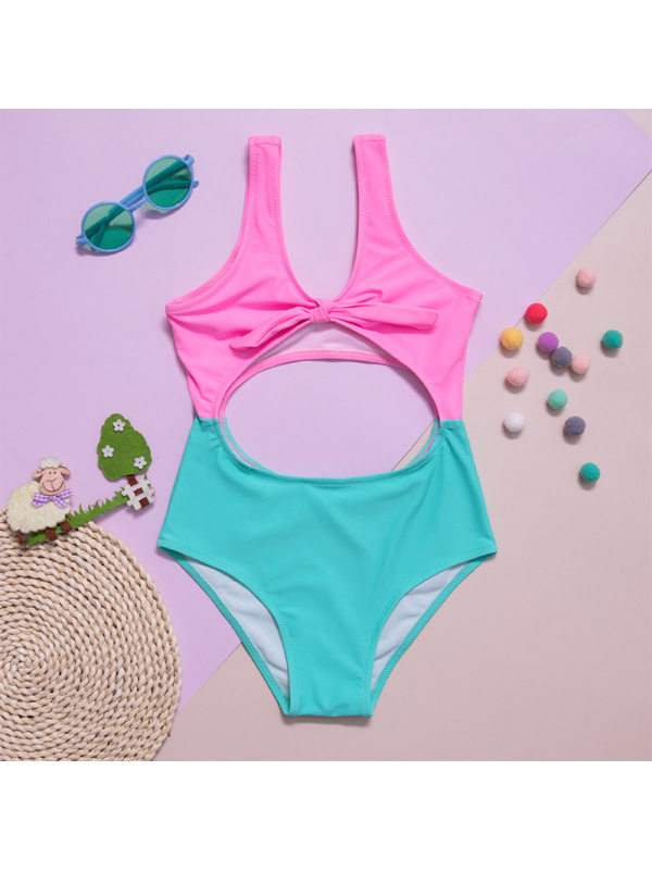 【6Y-13Y】Girls' Knotted Hollow Color Block One-Piece Swimsuit