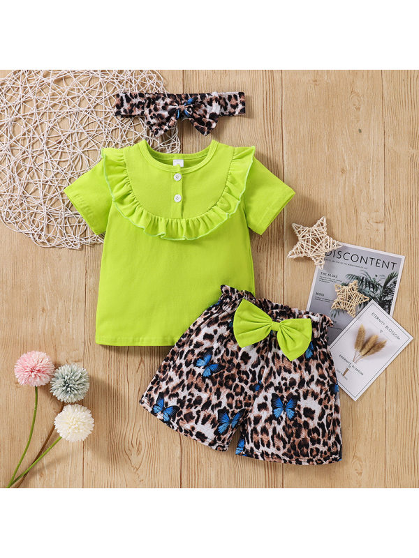 【12M-5Y】Three-piece Girl Leopard Print Shorts With Ruffled Solid Color Top