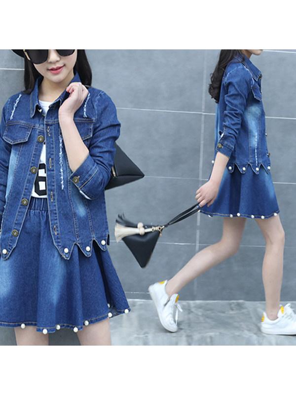 【3Y-13Y】Big Girl Denim Jacket And Half Skirt Two-piece Suit