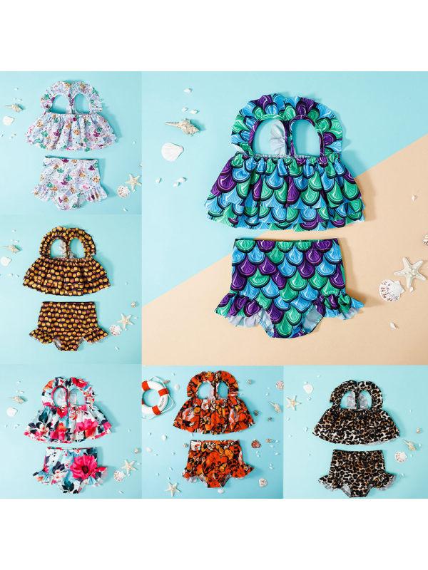 【12M-5Y】Girls Cartoon Print Two-piece Swimsuit