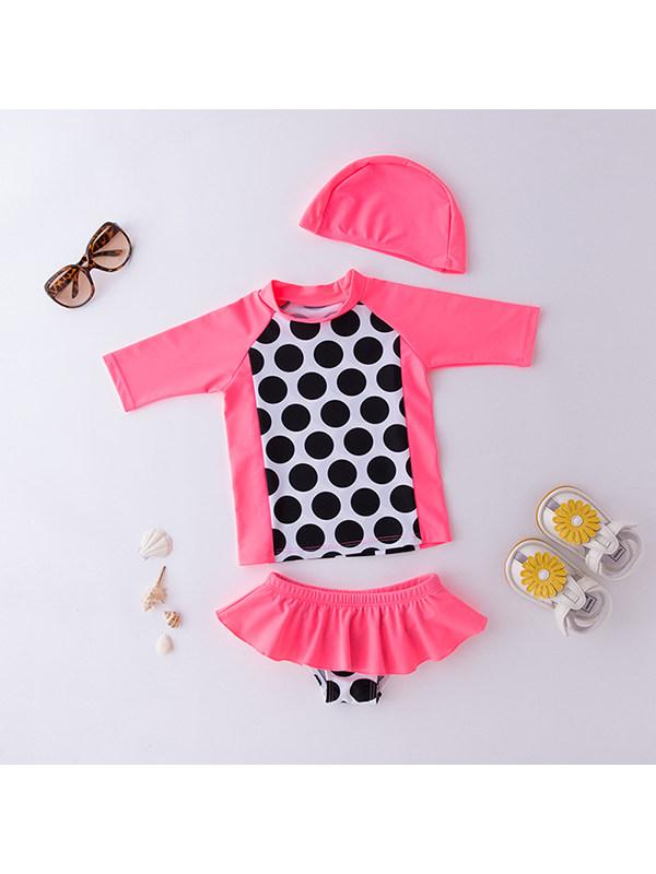 【2Y-9Y】Girls Long-sleeved Black Polka Dot Split Swimsuit With Hat