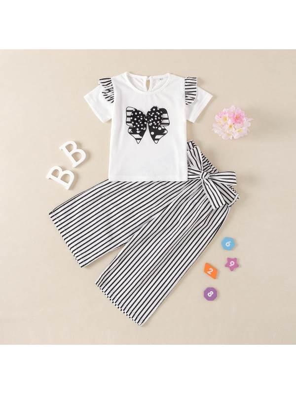 【18M-7Y】Girls Bow Print Short Sleeve T-Shirt Striped Pants Set