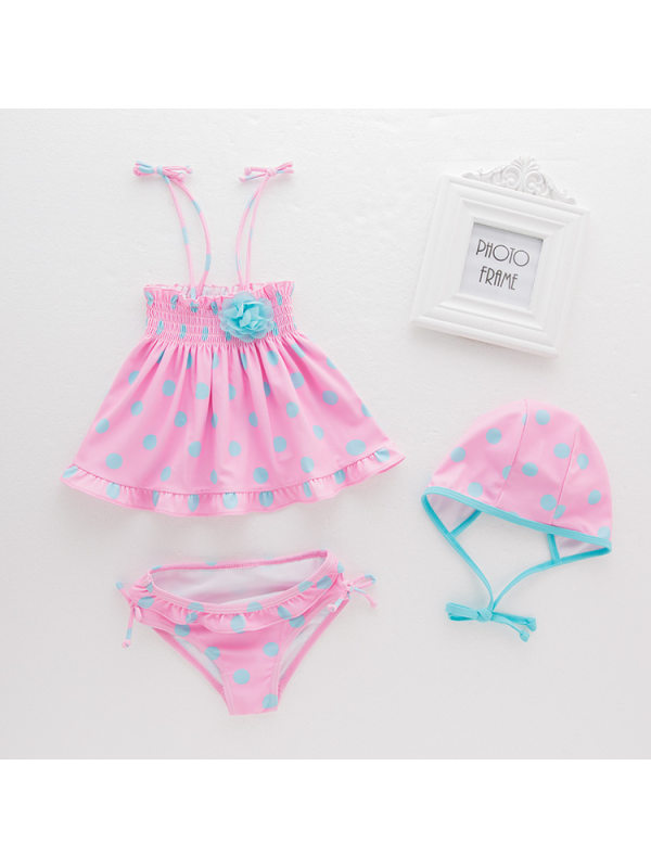 【18M-7Y】Girls Polka Dot Sling Top And Briefs Swimsuit Set