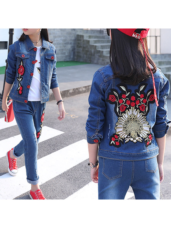 【3Y-13Y】Big Girl Embroidered Denim Jacket And Trousers Two-piece Suit