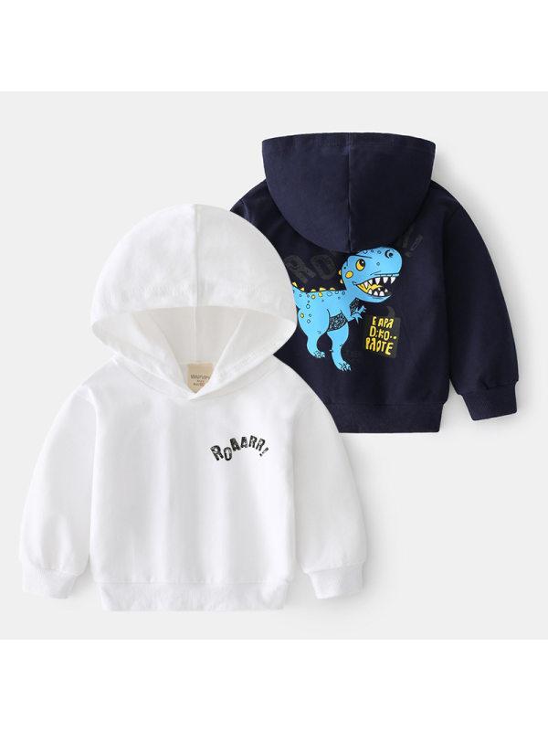 【18M-7Y】Boys Dinosaur Print Hooded Sweatshirt