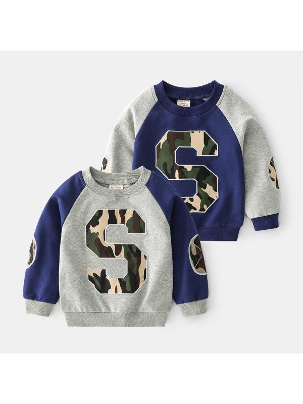 【18M-7Y】Boys Camouflage Contrast Pullover