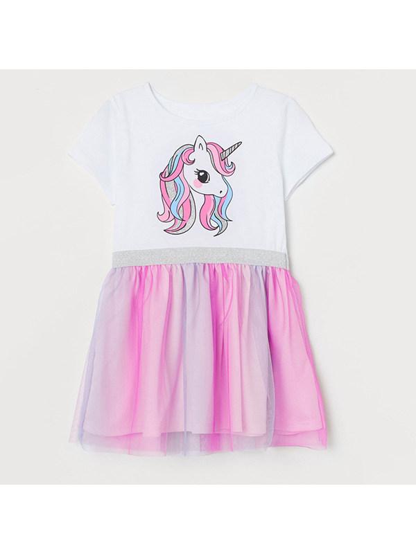 【18M-9Y】Girls' Short-sleeved Mesh Dress