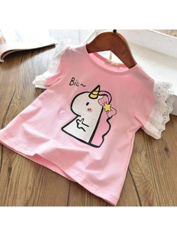 【12M-7Y】Girls Lace Flying Sleeve Cartoon Print T-shirt