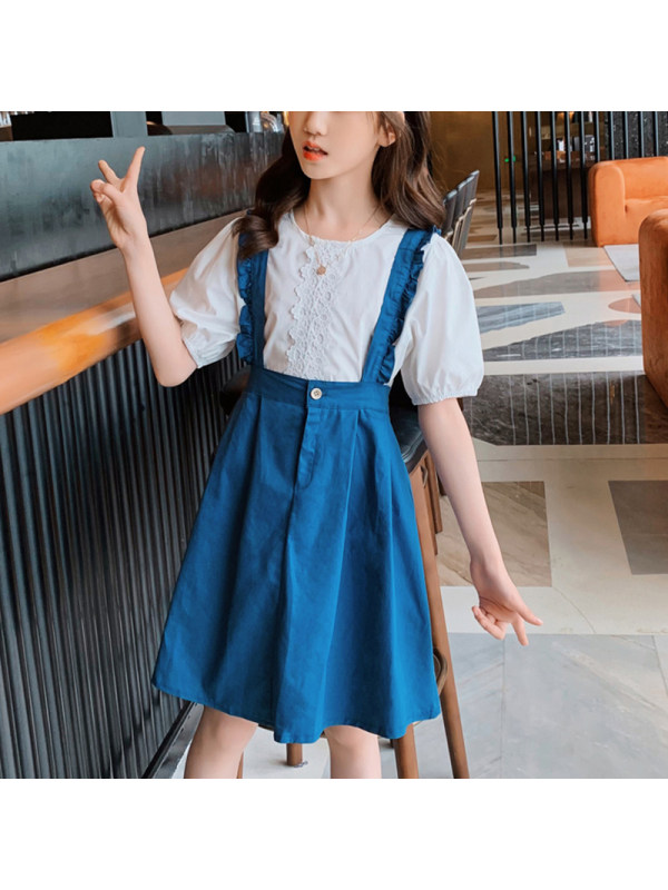 【3Y-13Y】Girl Round Neck Puff Sleeve Shirt With Suspenders Skirt Two-piece Suit